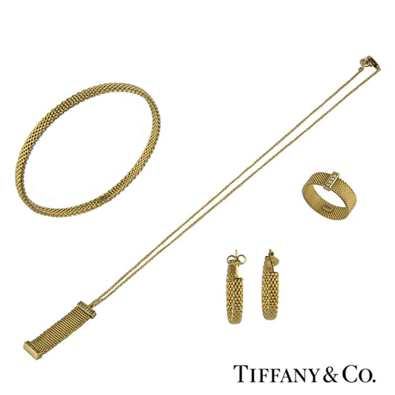 Tiffany & Co 18k Yellow Gold 4 piece Mesh Suite